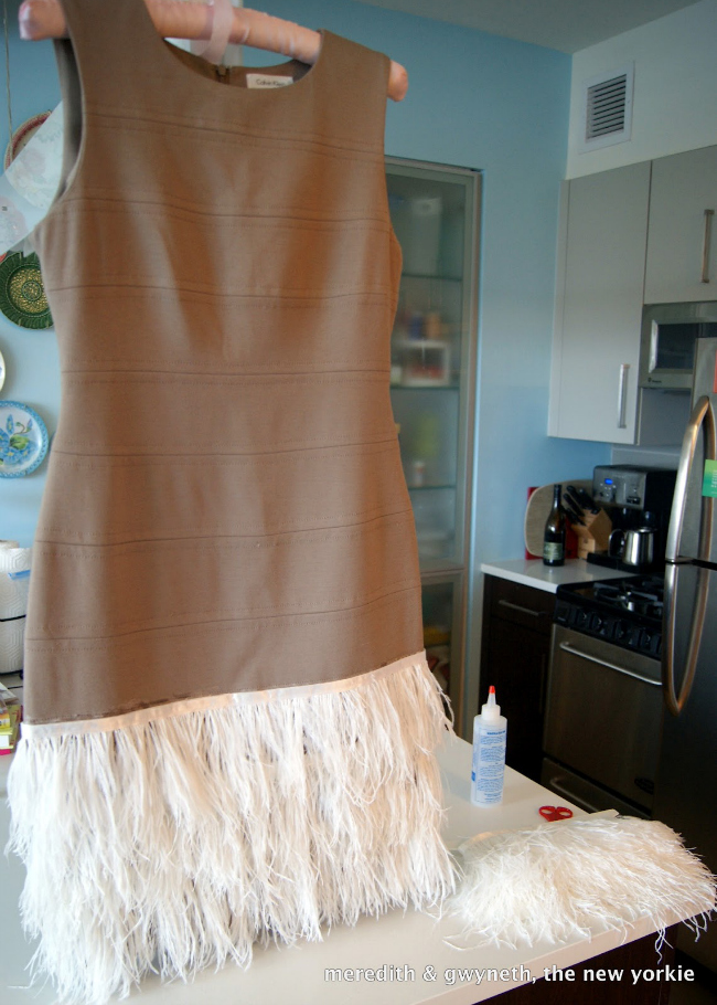 DIY No Sew Feather Dress Step 5