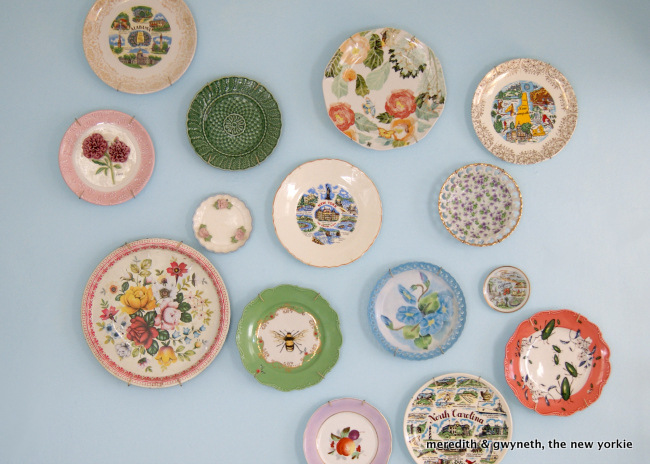 Vintage Plate Wall In Kitchen